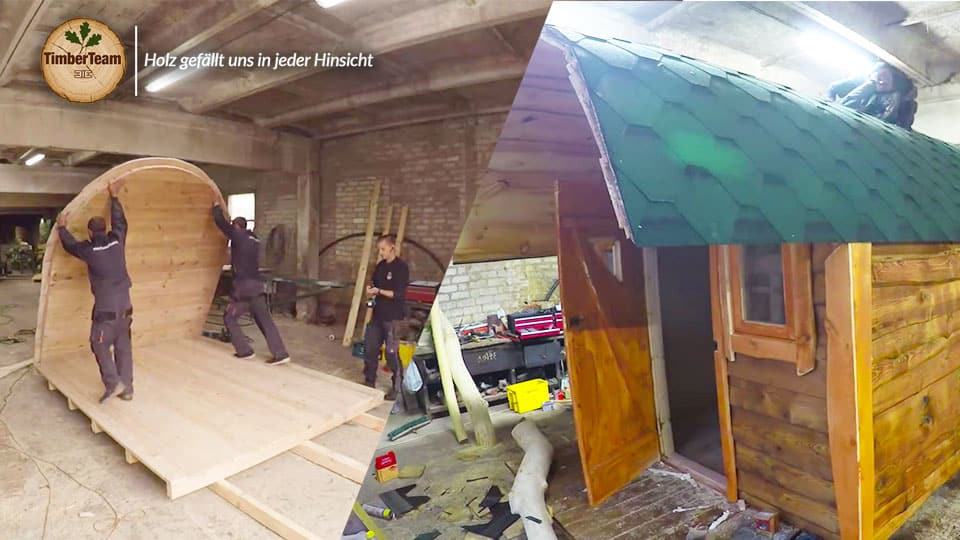 Aufbau Hobbit Haus/ Gartensauna Video TimberTeam