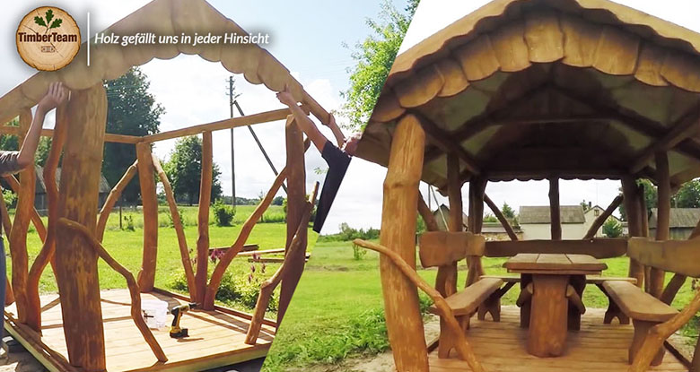 Video Aufbau eines Pavillons Gartenlaube Rustikal