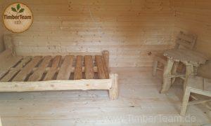 Gartenhütte mit Holzmöbel bestellen